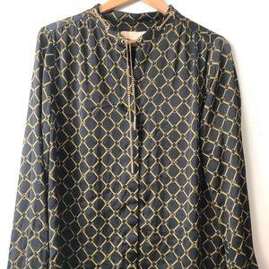 Michael Kors blouse logo black and gold size XL